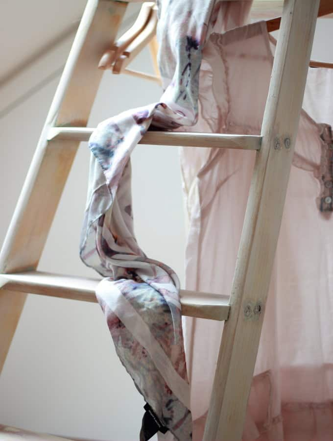 Boutique style clothes hanger ladder with scarf