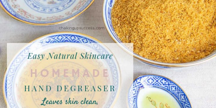 Make a natural homemade degreaser that competes with commercial brands. This homemade degreaser works as good as heavy-duty commercial brands and doesn't dry or irritate the skin. Great for mechanics & gardeners alike. #homemadedegreaser #degreaserforhands #naturaldegreaser #giftsfor gardeners #giftsforguys