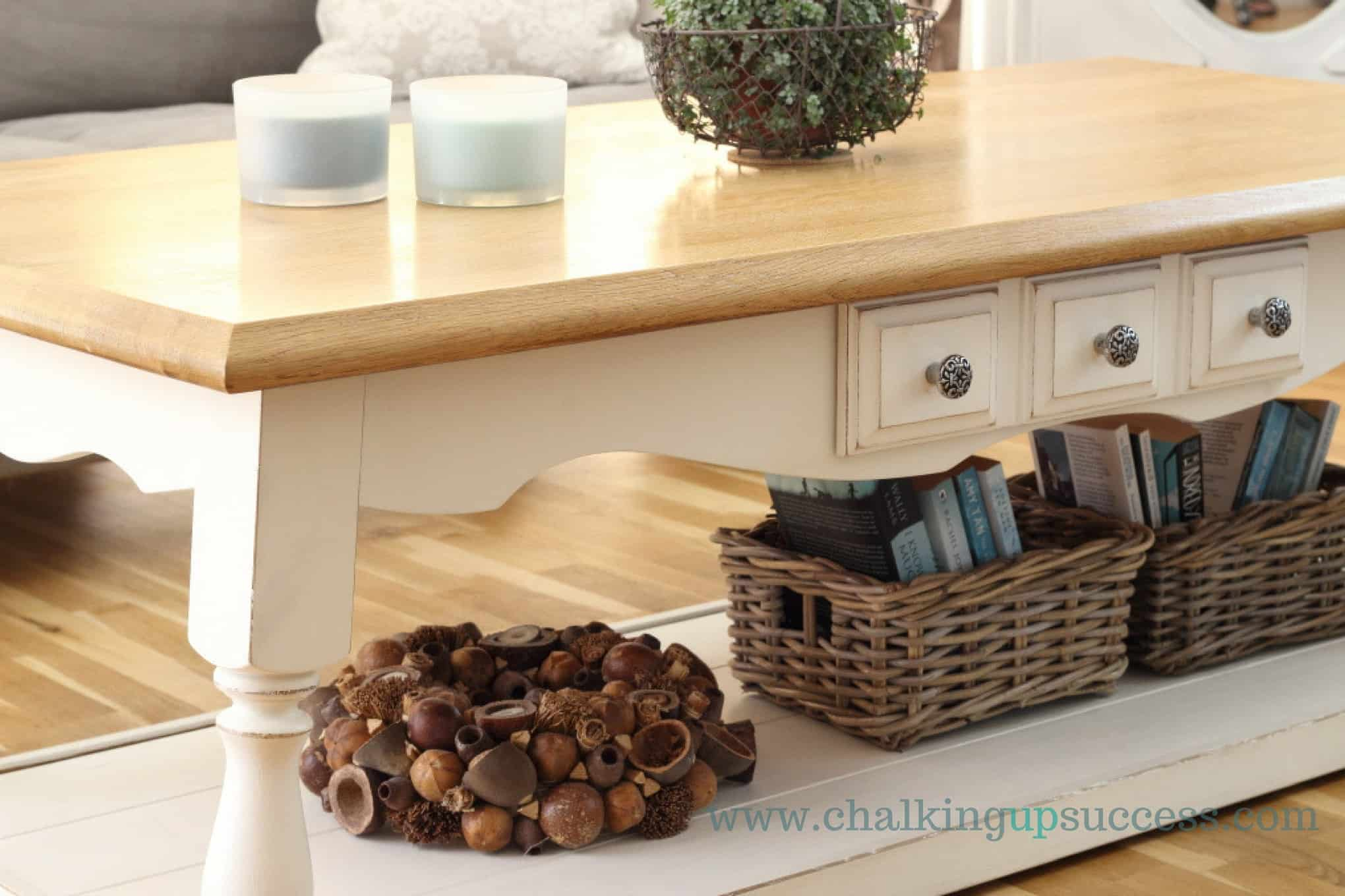 Coffee Table Makeover Riviera Maison Inspired ASCP & white wax