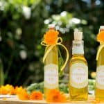 How to make calendula oil. Three pretty bottles of calendula oil surrounded by calendula flowers and petals
