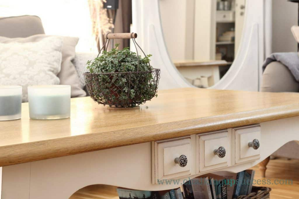 oak coffee table painted in Annie Sloan Old White, top waxed with Annie Sloan clear wax,
