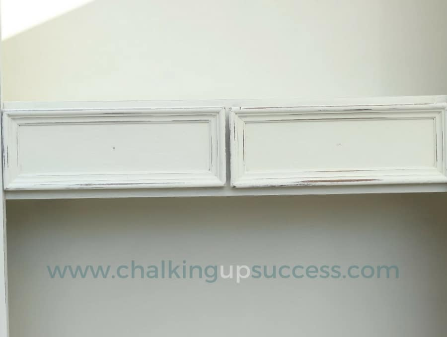 How the drawers of the Bookcase look before and after using white wax