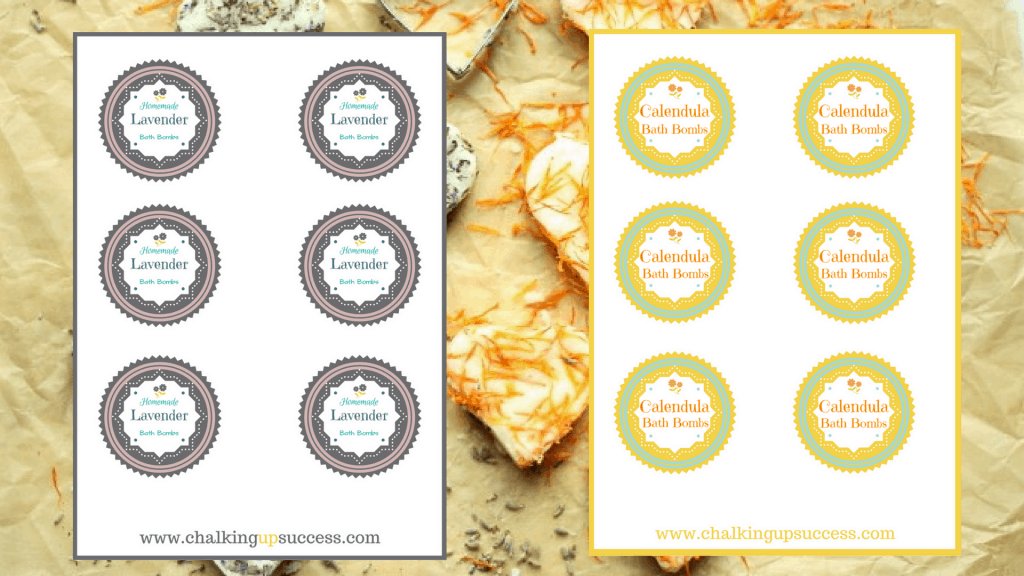 Free printable labels for Lavender or Calendular Bath Bombs