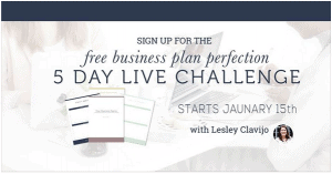Lesley Clavijo's free business plan perfection 5 day live challenge