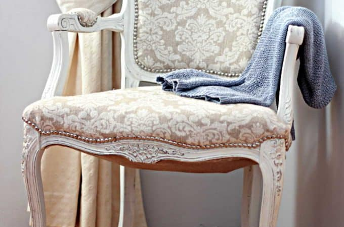 French Style Chair Makeover  Part Five – Applying the nail-head tacks