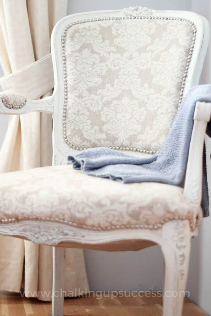 How to give a French-Style chair a new lease of life. Follow this easy tutorial for painting and upholstering. Annie Sloan Chalk Paint makes this DIY so easy!