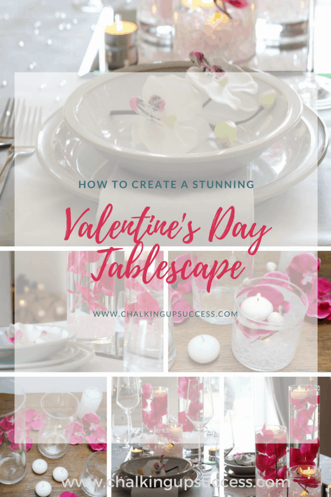 This stunning Valentine's Day tablescape with floating candles is so simple and easy to make and can be whipped up in moments. It looks impressive and will give you the wow factor without you having to spend hours setting it all up. #valentinesday #tablescape #floatingcandles #flowersinvases