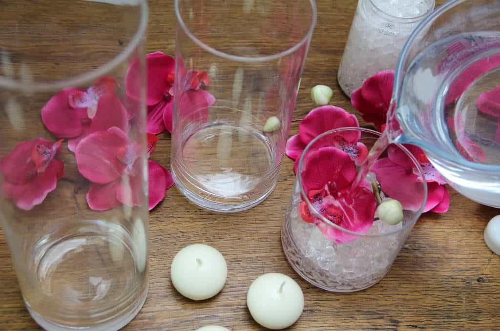 covering the pink coloured orchid with water. From the post How to create a stunning valentine's day tablescape www.chalkingupsuccess.com