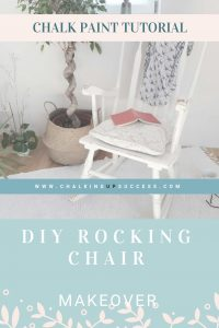 Rocking chair painted in white chalk paint and distressed to look old