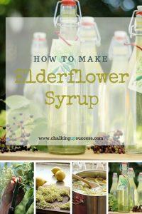 Bottles of Homemade Elderflower Syrup