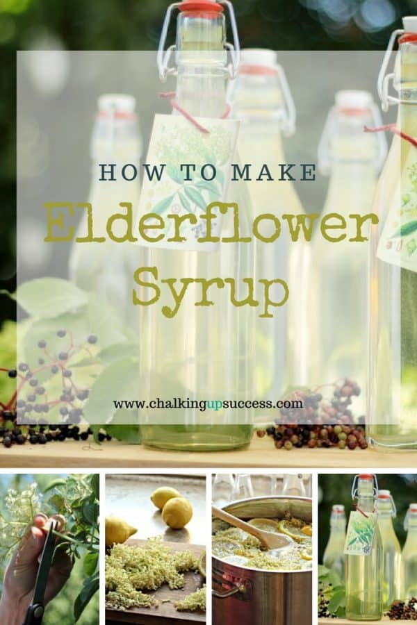 Bottles of Homemade Elderflower Syrup