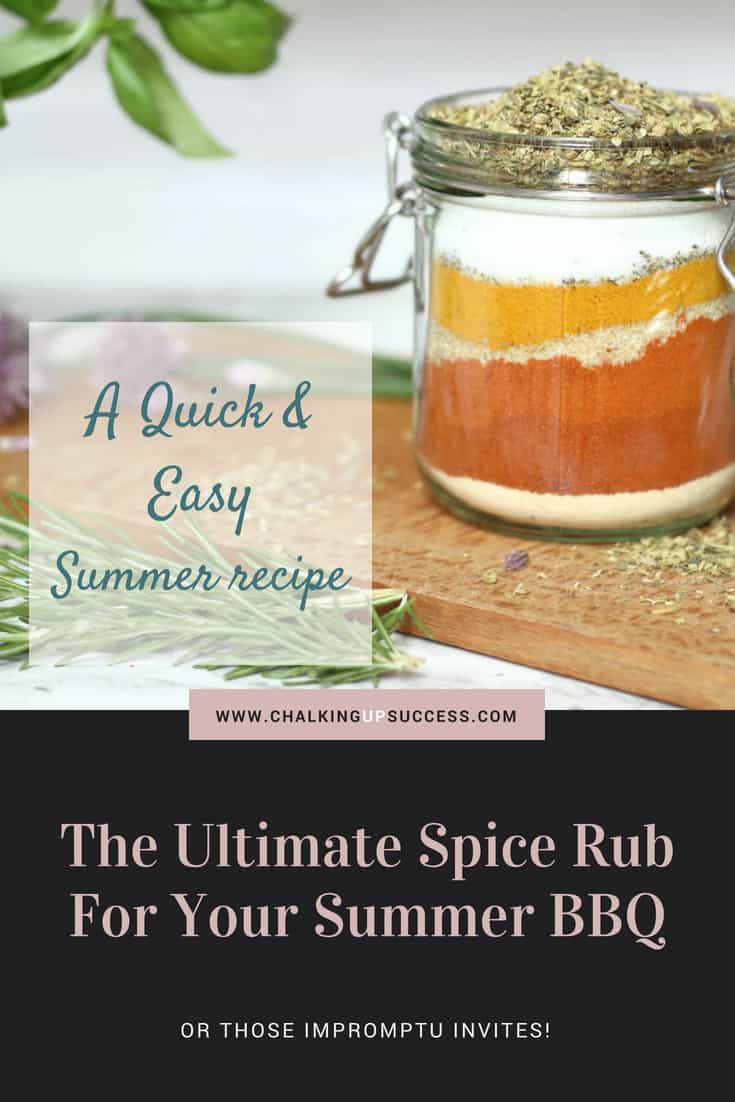 This spice rub is really easy to make and you can use it on meat, chicken or fish so it's the only rub you'll need for your summer BBQ! It's also great for gifting when you've been invited and have nothing to take! #spicerub #bbq #bbqseason #spices #picnics #fingerfood #herbsandspices #grilling