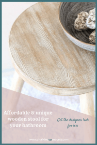 Have you seen those lovely bathroom stools popping up all over Pinterest? Now you don't need to wait until you find one you like. Save money and create something unique that fits your style by transforming an untreated wooden stool with stain, paint & wax. Click for the tutorial or Pin for later – Here's to a beautiful home for us all! :) #stool #bathroom #bathroomstool #driftwoodfinish #distressedwooddiy