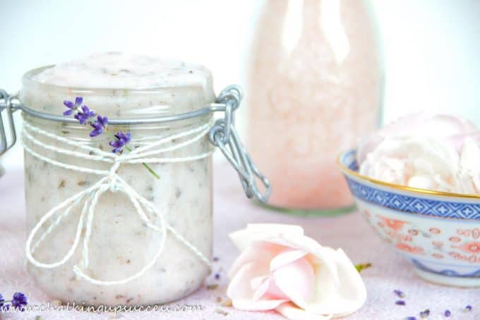 A jar of Lavender and Rose Himalayan salt scrub