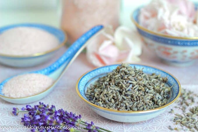 One of the ingredients for making Lavender and Rose Salt Scrub, a bowl of dried Lavender buds