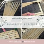 How to make a privacy screen from recycled blinds. Really easy DIY - create a privacy screen for your garden with recycled blinds or use it as a backdrop for photos or for your office. chalkingupsuccess.com #boho #outdoorliving #palletsofa #diy #privacyscreen #sunshade #sunscreen #recycledblinds #recycledvenetianblinds #outdoorspace #palletfurniture #beercratetable