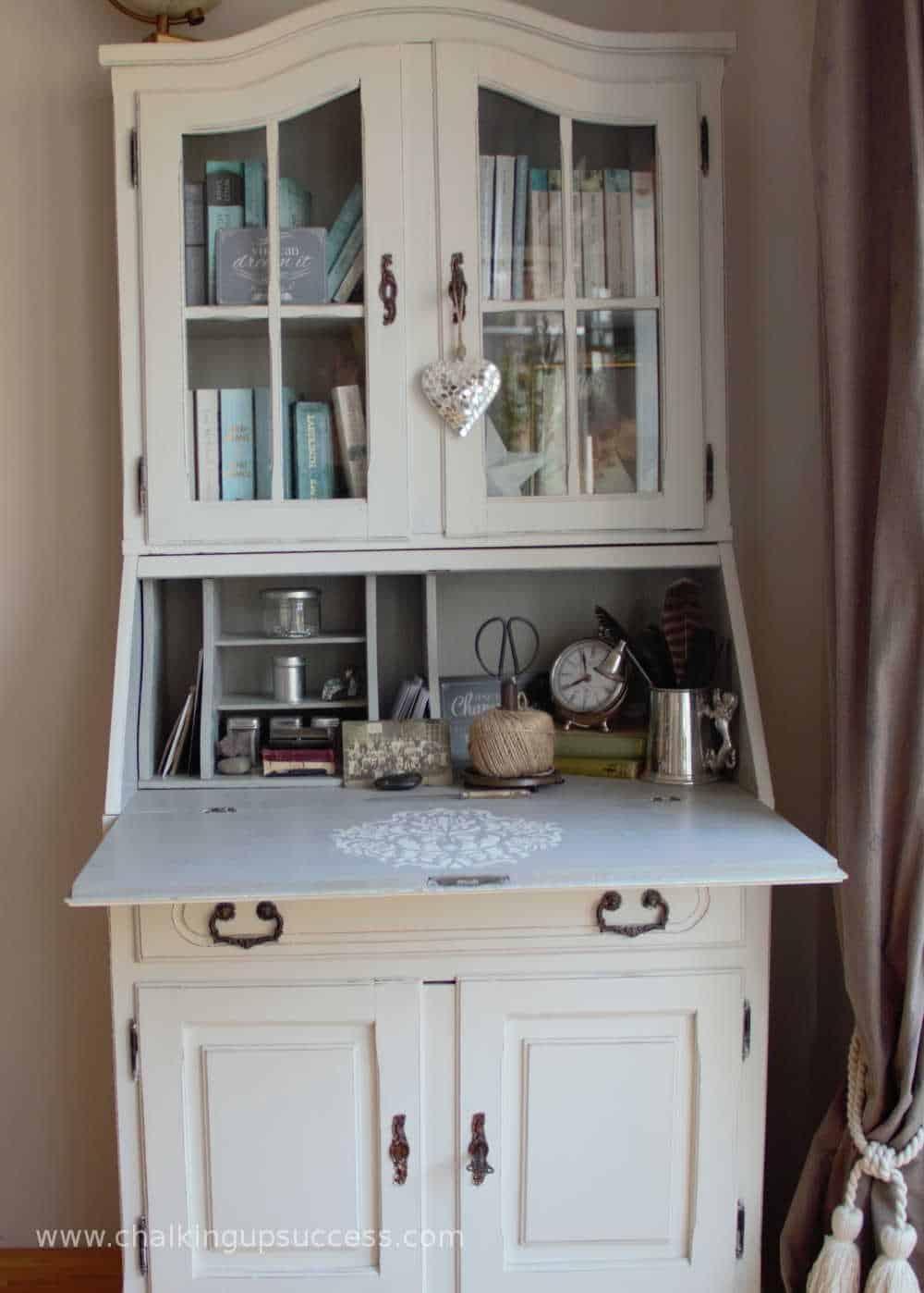 White U0026 Grey Secretary Desk With Damask Stencil   Stencil Furniture To  Create A Unique U0026
