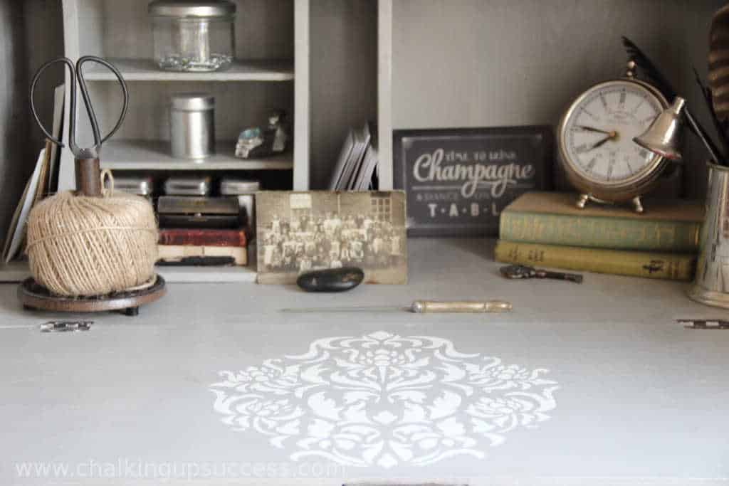 White & Grey secretary desk with damask stencil - Stencil Furniture to create a unique & affordable, space saving desk for you or your child with built-in storage for files or school books. It's easily customisable with paint or stencils to suit your home style. #secretary #desk #office #diydesk #backtoschool #kidsrooms #schreibtisch #kinderzimmer #buro #vintagedesk #stencils
