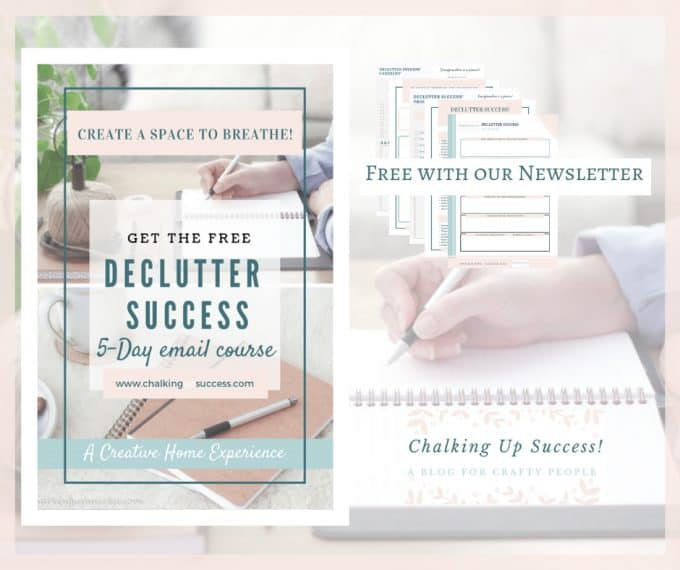 Declutter Success! A 5-Day email course, free when you subscribe to our Newslertter.Organize your home Lagom Style, declutter and make a relaxing haven and a calm and peaceful home environment for your family. As seen in the blog post 'How to cope with letting go of sentimental items' by Chalking Up Success dot com