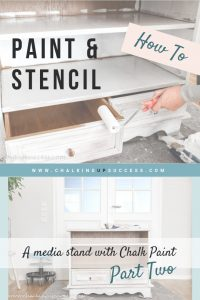 This is part two of the chalk painted media stand makeover series. This post covers priming and painting with Annie Sloan Chalk Paint in Duck Egg Blue. #chalkpaintedfurniture #upcycledfurniture #chalkpaint #paintedfurniture