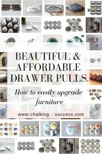 A selection of beautiful drawer pulls made of various materials, as seen in the blog post 'Beautiful and affordable drawer pulls - how to easily upgrade furniture by www.chalkingupsuccess-dot-com