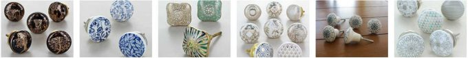 A selection of ceramic drawer pulls, as seen in the blog post 'Beautiful and affordable drawer pulls - how to easily upgrade furniture by www.chalkingupsuccess-dot-com