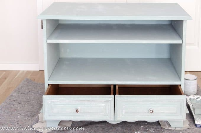 The media stand has had one coat of Annie Sloan Chalk Paint in Duck Egg Blue.