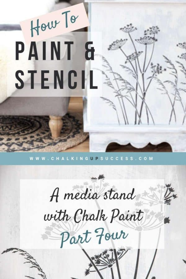 How to Stencil Furniture with chalk paint is the last in the media stand makeover series. Today we're going to cover stencilling, distressing and finishing the furniture with Annie Sloan clear wax. Read the post or watch the video #anniesloan #chalkpaint #stencilfurniture