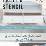 This media stand furniture makeover has had a coat of chalk paint in Duck Egg Blue and now it's time to add a chalk paint wash in old white. Part three of the furniture painting tutorial and video series, 'How to Paint and stencil a media stand with chalk paint'. This post shows you what to do when things don't turn out quite the way you expect them to!