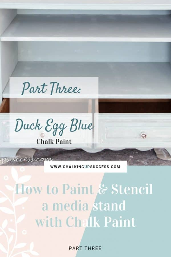 Pinterest Pin graphic for Part three of 'How to paint and stencil a media stand with chalk paint' from chalking up success dot com