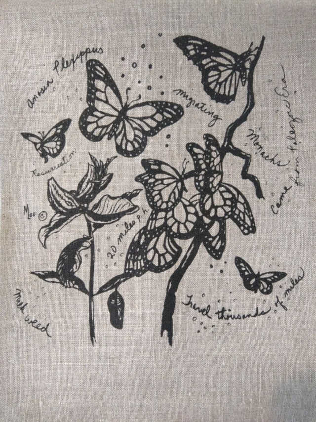 How to give a thoughtful gift that won't end up at Oxfam! Don't just give 'something' for the sake of giving. Here are some stylish eco friendly gift ideas that show you care about her AND the planet. Beige linen tea towel printed with monach butterflies in black.