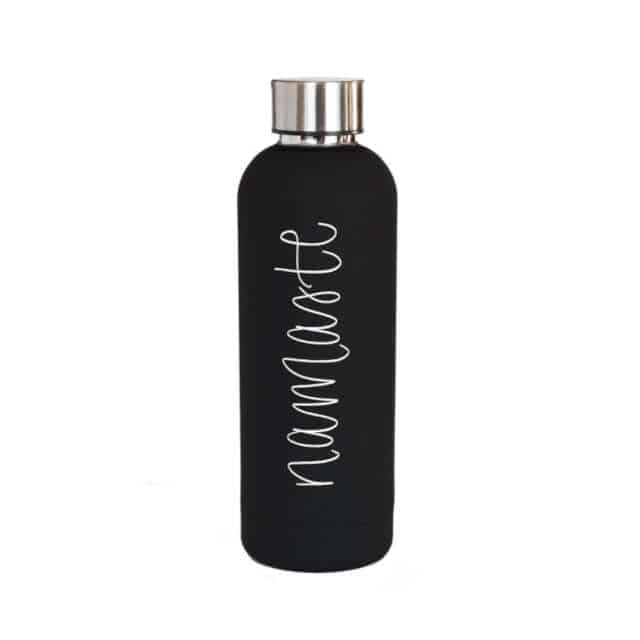 How to give a thoughtful gift that won't end up at Oxfam! Don't just give 'something' for the sake of giving. Here are some stylish eco friendly gift ideas that show you care about her AND the planet. Black matt water bottle with the word 'Namaste' in silver script down the front.