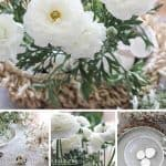 The white flowering 'Persian Buttercup' as a centerpiece for a simple Easter tablescape - A home decor post from the blog 'Chalking Up Success'.