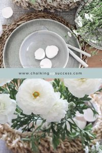 Pinterest Pin for the blog post 'A simple Easter tablescape for when you have no time' from the blog 'Chalking Up Success'.