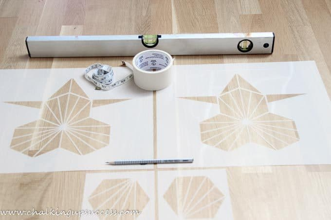 Stencils, masking tape, spirit level, tape measure, pencil, from the post 'How wall stencils can be a quick and easy transformation' from the blog chalking up success dot com