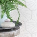 A close up of the finished geometric wall stencil - from the post 'How wall stencils can be a quick and easy transformation' from the blog 'chalking up success dot com'