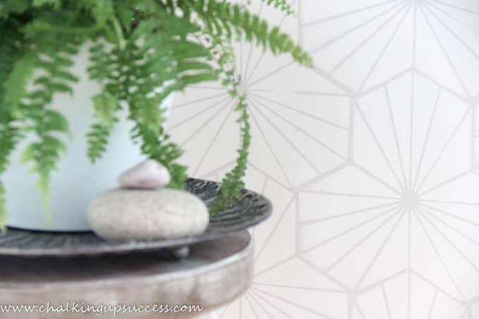 Shows a close up of the finished wall painted with the geometric wall stencil - from the blog chalking up success dot com