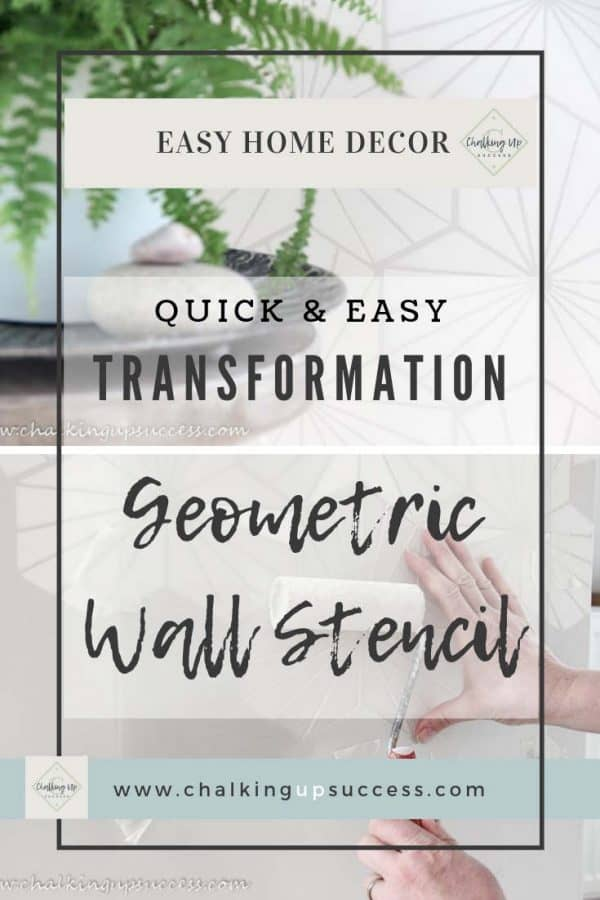 Pinterest Pin Graphic for the post 'How wall stencils can be a quick and easy transformation' from the blog chalking up success dot com