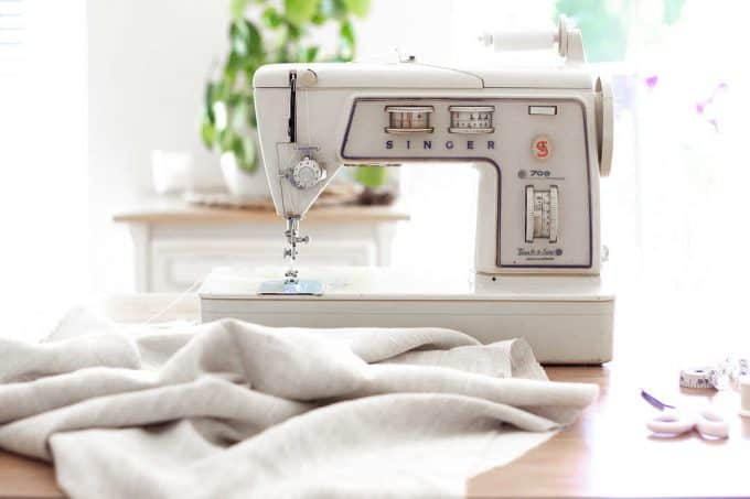 Shows a 'Singer' sewing machine 'Touch & Sew' - from the blog post 'How to cope with letting go of sentimental items' by Chalking Up Success dot com