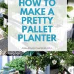 How to make a DIY vertical wood pallet planter. This recycling project can be completed in a day or weekend. Easily create a unique herb/flower planter for your porch, or garden. #palletplanter #woodenpallets #verticalpalletplanter #porch #DIY #gardening #diywoodpalletplanter #recyledpallets