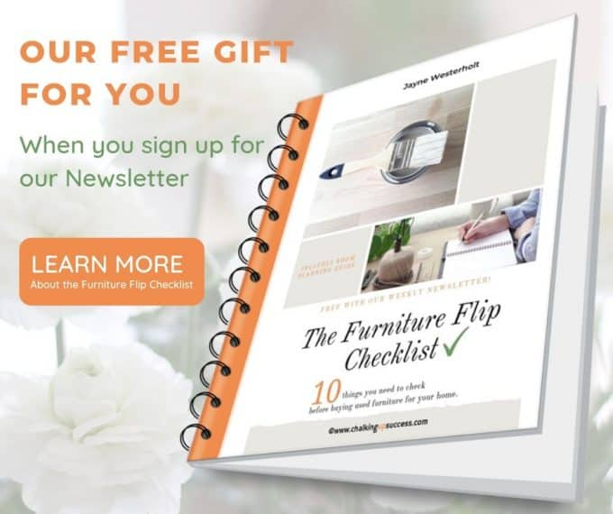 The 'Furniture Flip Checklist' is a free mini e-Book in PDF form - 10 things you need to know before buying used furniture for your home - Room planning guide included #freeebook #chalkpainting #furnitureflip #recycle #homedecor #furniturepainting