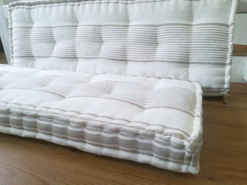 FRENCH MATTRESS CUSHIONS, Handmade to order, Window Seat Cushions, Bench Cushions, Bespoke sizes