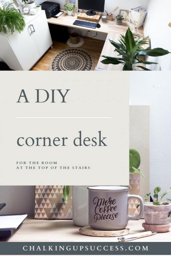 An oak corner desk in a tiny office