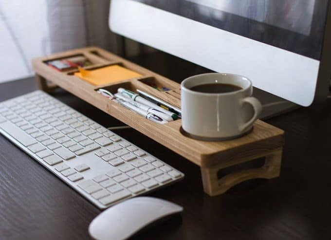 Wooden Desk organiser - If you'd like to know how to make your office more sustainable here are some of the gorgeous accessories that you can buy for your desk and workplace today, to help you reduce plastic in your home and create an eco-friendly office space. #ecofriendlydecor #ecofriendlyproducts #ecofriendlygifts #ecofriendlyliving #ecofriendlyideas #ecofriendlytips #ecofriendly  #sustainability #sustainableliving #zerowaste #ecofriendly #office #officesetup  #ecofriendlyofficesupplies  #greenoffice #ecofriendlyhome #homeofficeideas #homeofficemakeover #sustainablelivingideas