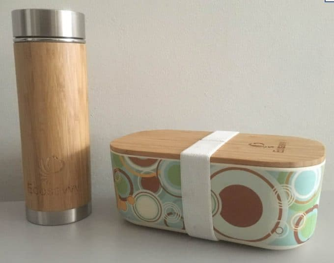 Bamboo lunch box and flask