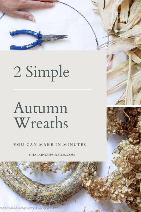 2 Simple Autumn wreaths you can make in minutes, a craft and DIY post from Chalking up success dot com