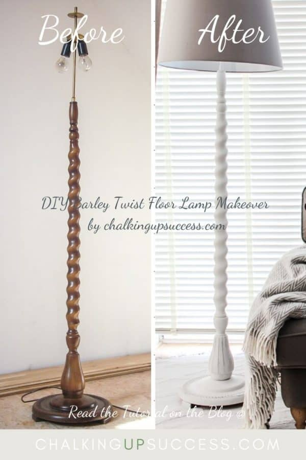Barley twist floor lamp upcycle. Dark wood was painted over with Annie Sloan Chalk Paint in 'old white' A new modern grey lampshade was added.