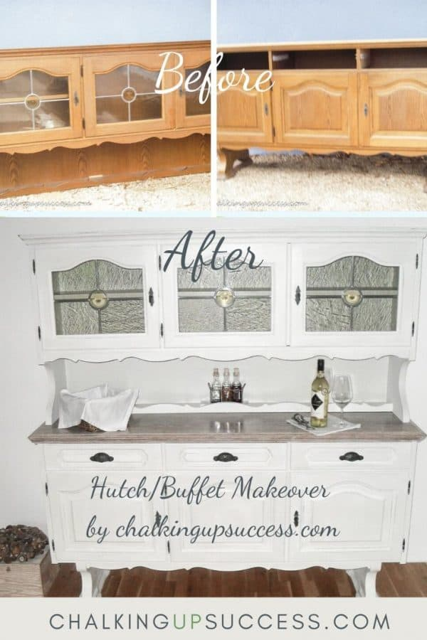 Dark wood buffet upcycle with leaded glass doors painted with Annie Sloan Chalk Paint.