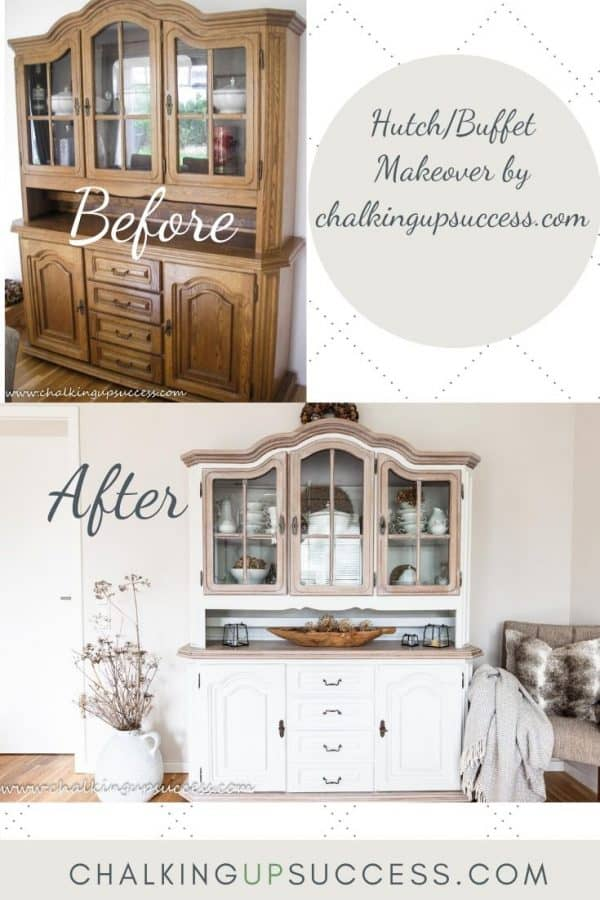 Before and after furniture upcycle. Dark wood buffet to wood and white buffet.