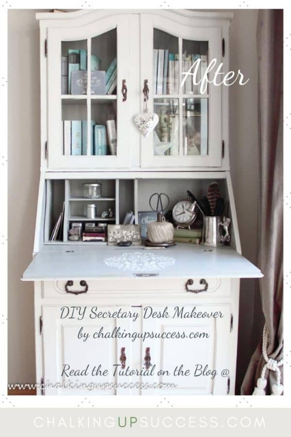 Secretary desk painted in Annie Sloan Chalk Paint in 'Old White' and 'Paris Grey'